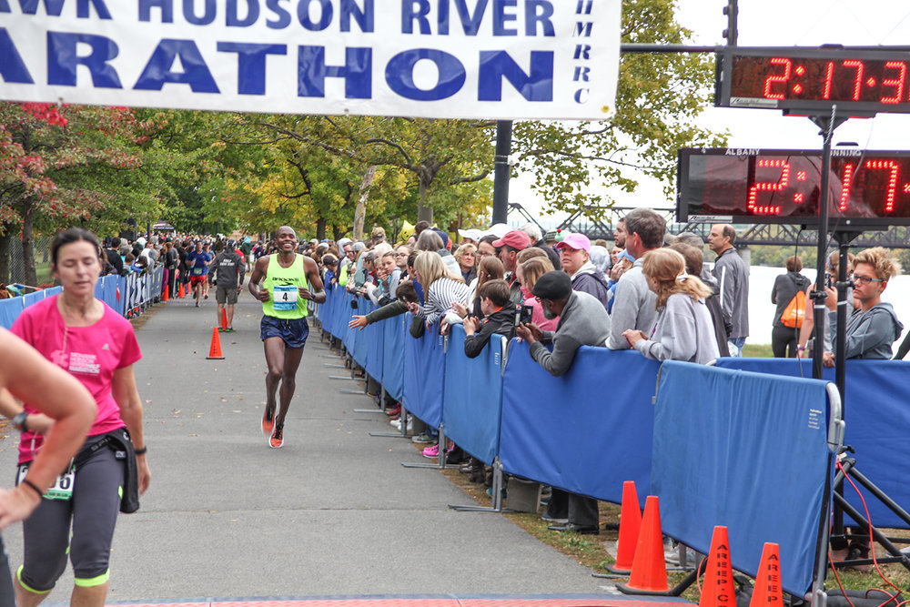 Kiplanget Tisia finishing third at last year's Mohawk Hudson River Marathon.  Charles Bishop