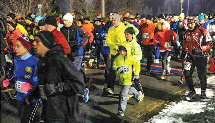 They're off: 2016 First Night Saratoga 5K at Skidmore College.   Saratoga Arts