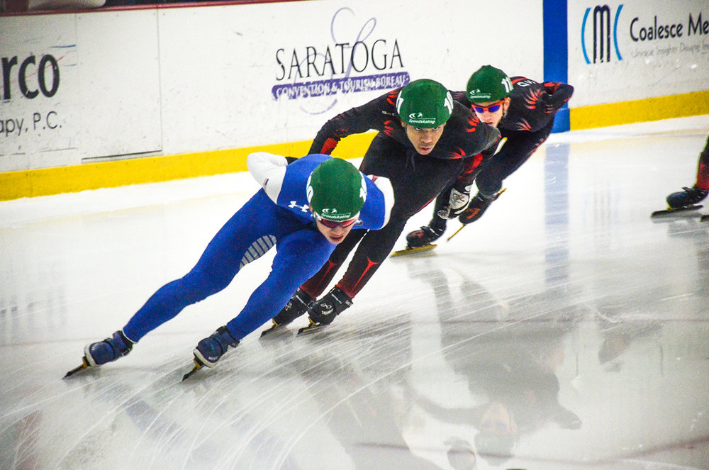Albert Zhong of SWC leads the pack to win first overall in NorthEast Short Track Series #1 on Nov. 4.   Garden State Speedskating