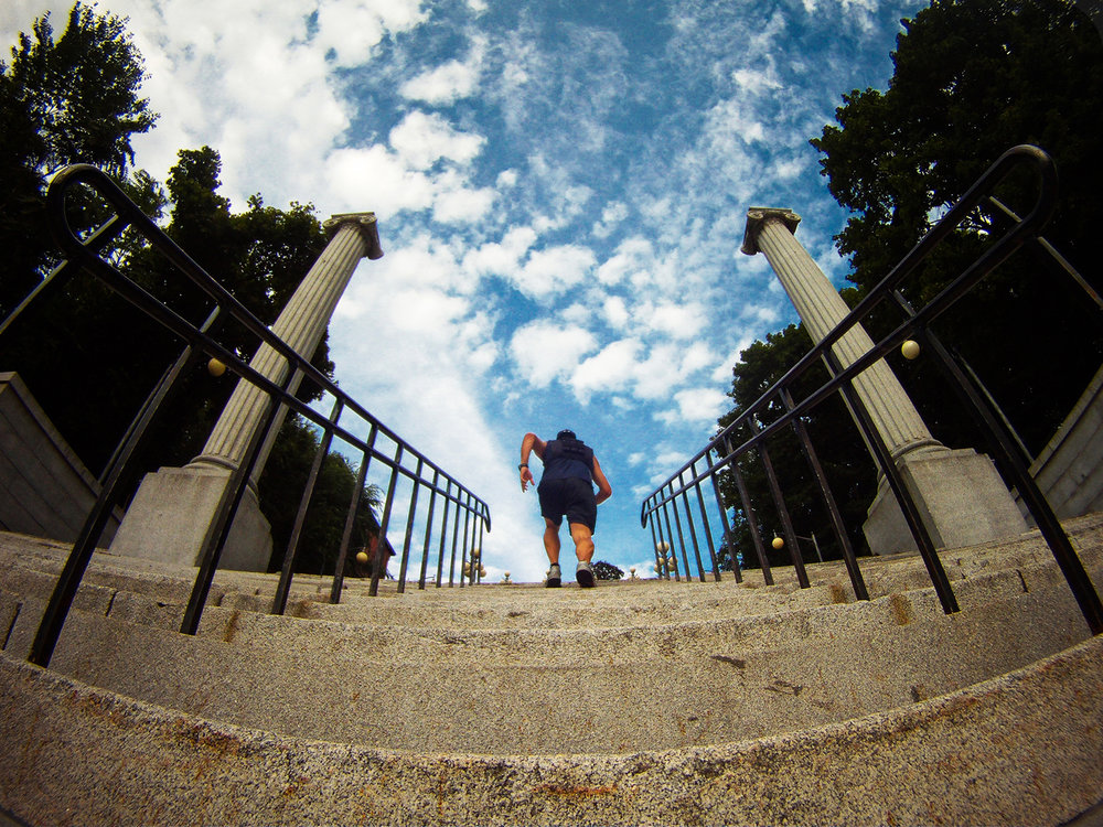 "Rucking up ""the approach,"" 147-step staircase, on the rpi campus in Troy."