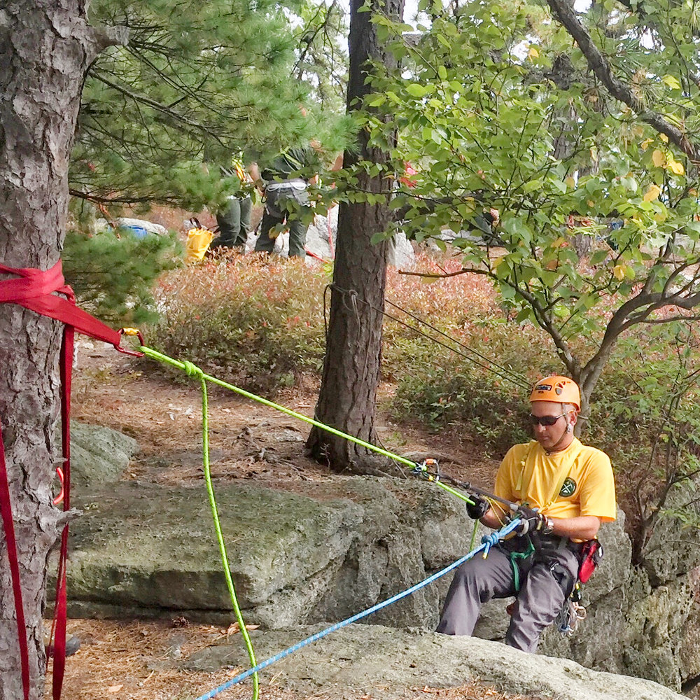 Technical rope rescue training with the NYS Rangers on the Shawangunk Ridge in Minnewaska State Park Preserve.