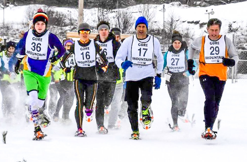 Start of the 2016 Gore Ski Bowl Snowshoe Race.  Gore Mountain