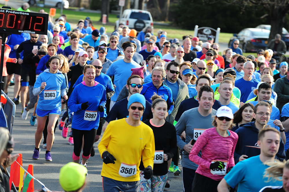 Start of the Blue Needs You! 8K in Saratoga Springs in April 2017.  Bruce McDonough