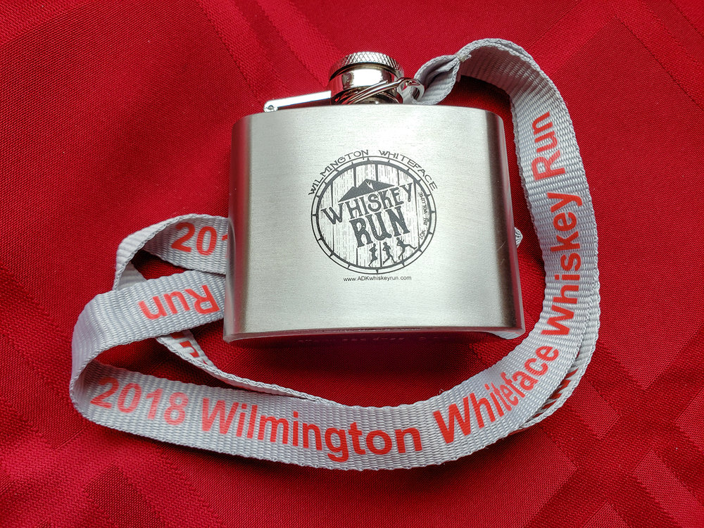 Usable flask (2.2oz) finisher's medal at the 2018 Whiskey Run 10K in Wilmington.   Karen Peters