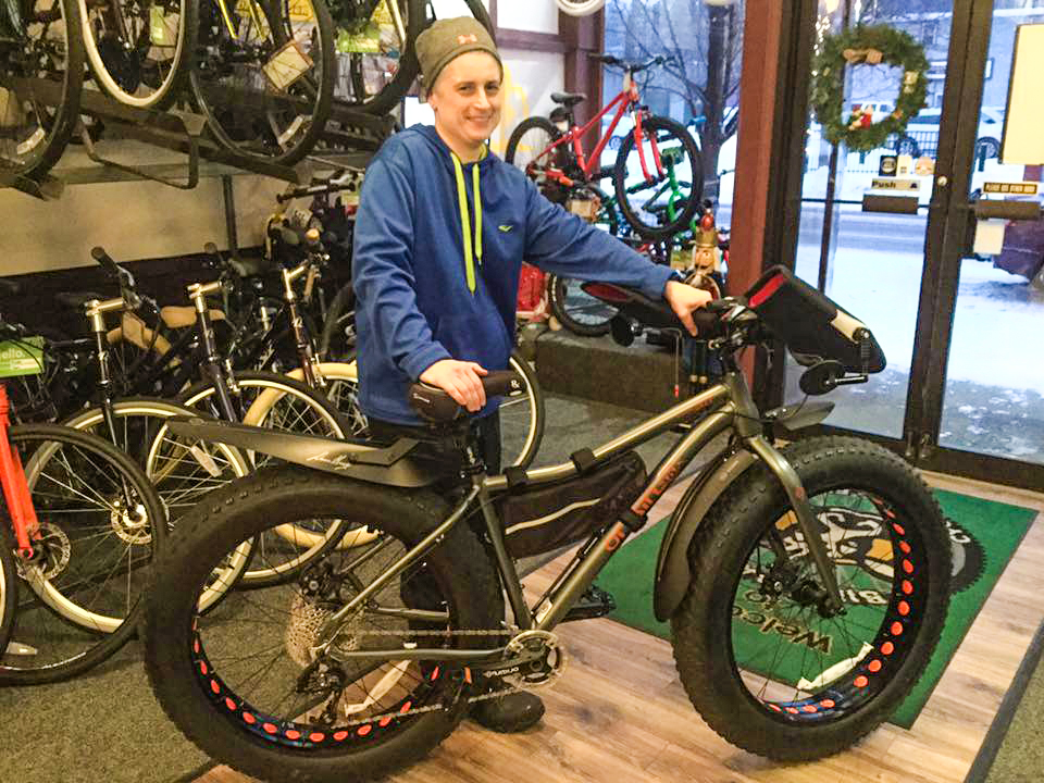 Another happy customer – new fat bike day! – at the Bike Barn in Cohoes.