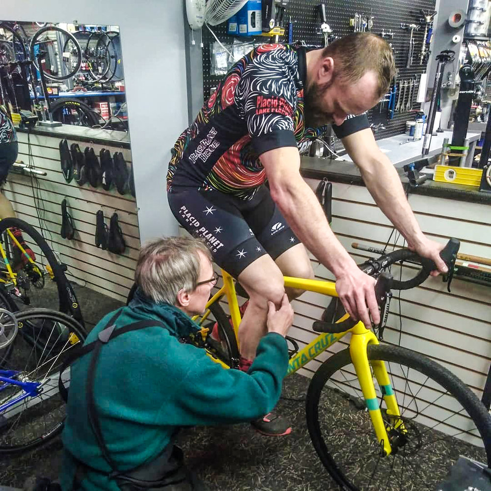 Kenny Boettger getting a fit dialed in at Placid Planet Bicycles in Lake Placid.