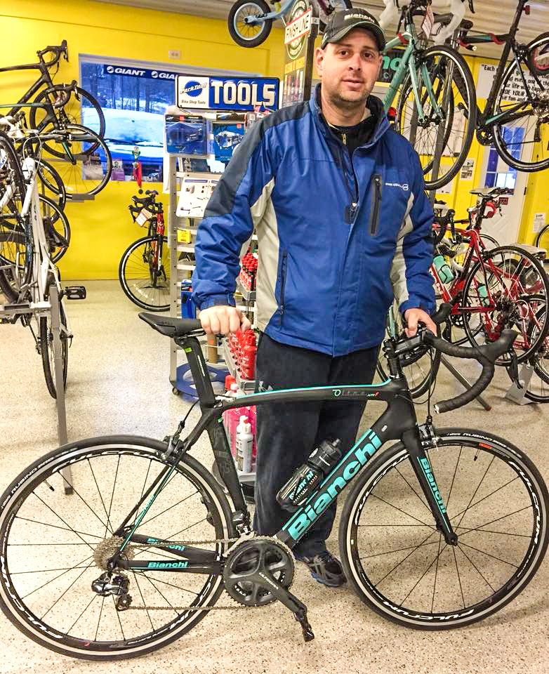 New bike owner ready to give it a go at Tomhannock Bicycles in Pittstown.