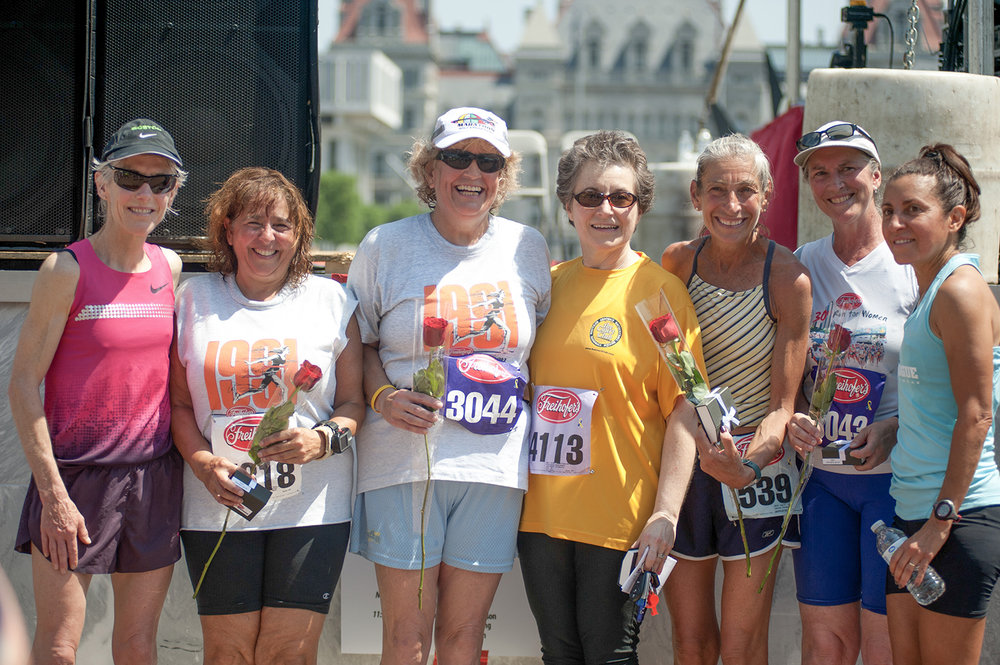 Joan Benoit Samuelson, Cindy Kelly, Linda Campbell, Bernadette LaManna, Denise Herman, Ellen Picotte and Carmen Troncoso in 2013.  Freihofer's Run for Women