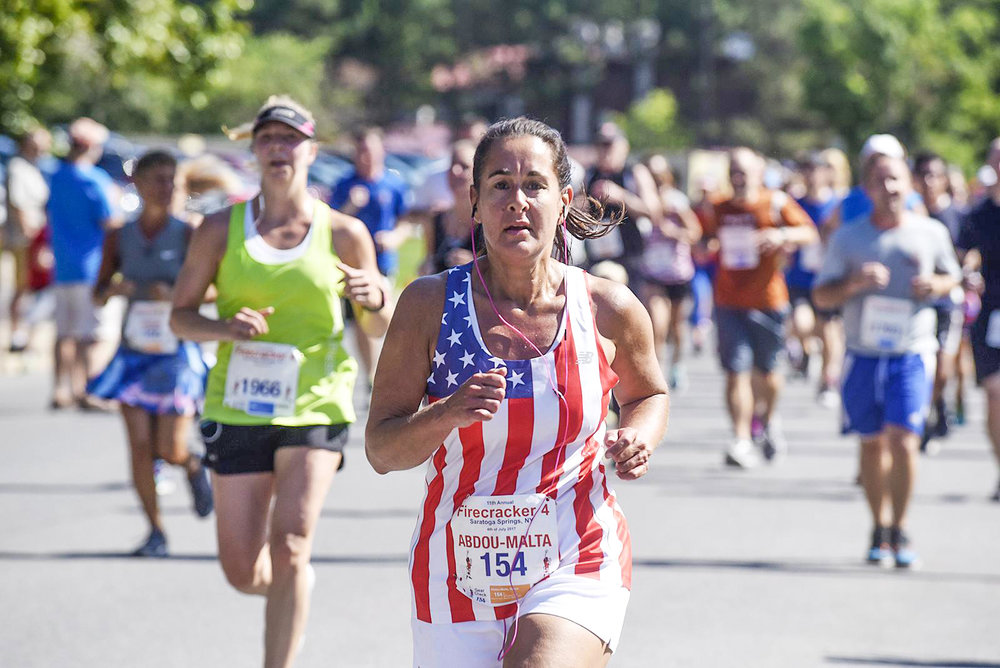 Renee Abdou-Malta of Feura Bush at the Firecracker 4 in Saratoga Springs on July 4, 2017.  Erica Miller/The Daily Gazette