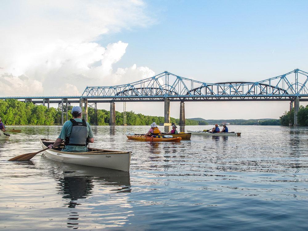 ADK paddlers on the Hudson near the Berkshire Spur Bridge.   Alan Mapes