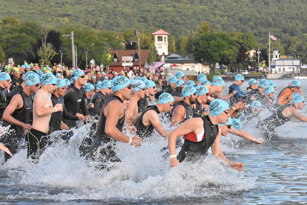Lake George Triathlon Fest: 2016 Olympic swim start.  Pat Hendrick Photography