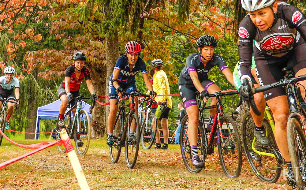 Katina Sayers of Tully leads the Women's Elite field at the 2017 Uncle Sam GP of Cyclocross held in Prospect Park, Troy.   Keri Jones