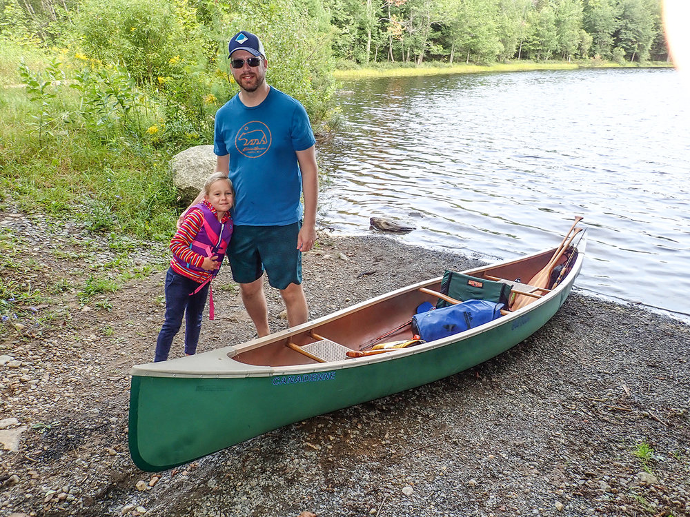 Jeff Mapes and Nora   get ready for her first   canoe trip.   Alan Mapes
