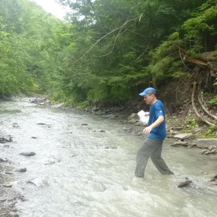 Fording a stream is a normal part of orienteering.   Alexis Rzewski