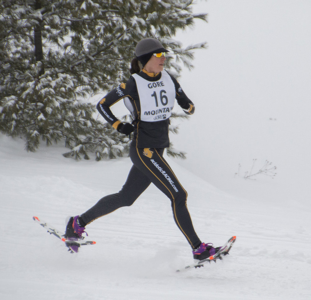 Flying first at 2017 Gore Mountain 5K Snowshoe Race.