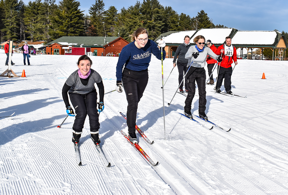 Allison Bromser, Olivia Phaneuf and Janine Phaneuf of Old Forge start Shenendehowa Nordic's Citizens Race on January 5, 2019 at the Gore Nordic Center.   Meghana Caron