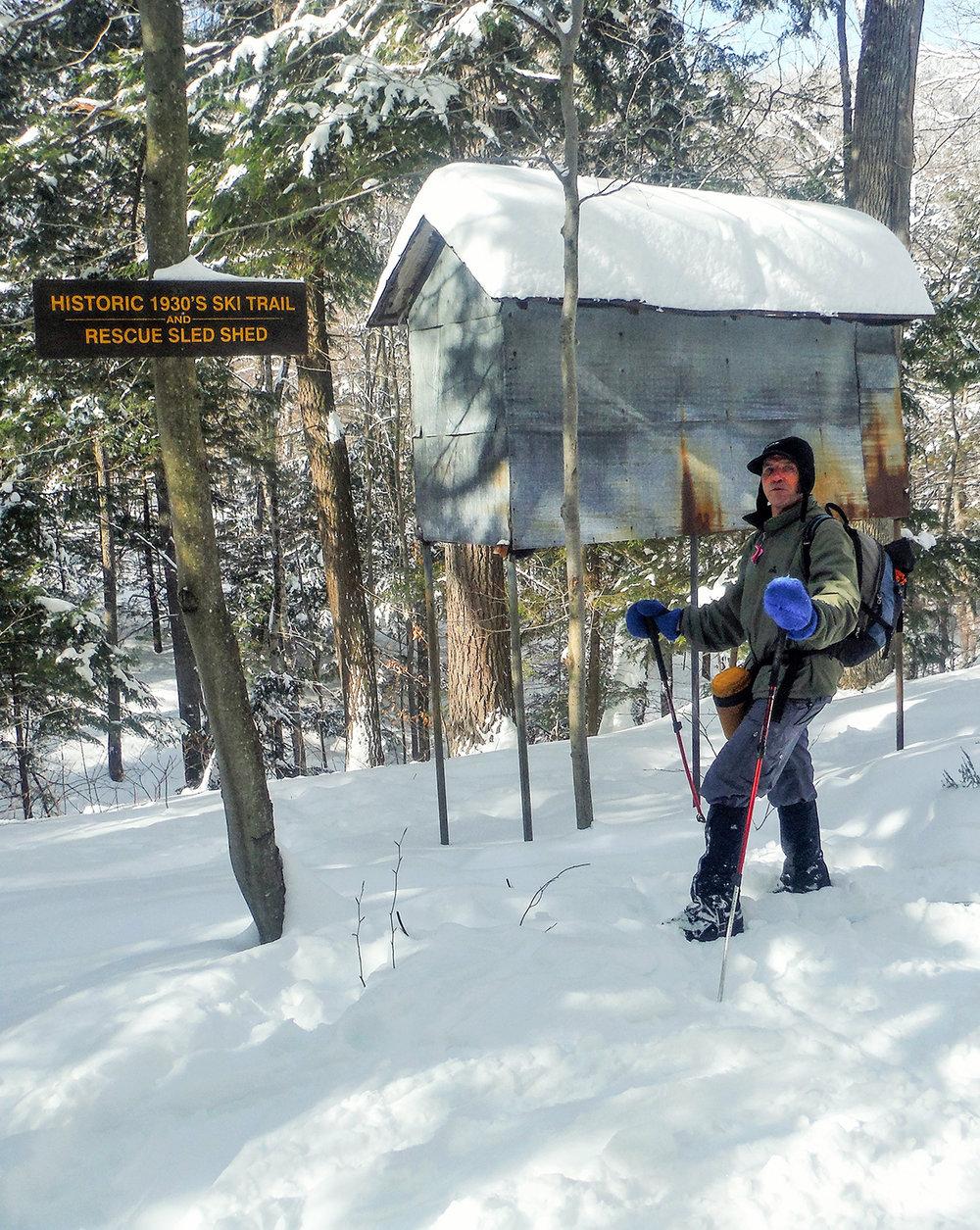Old rescue sled spot on the Raymond Brook Ski Trail.   Rich Macha