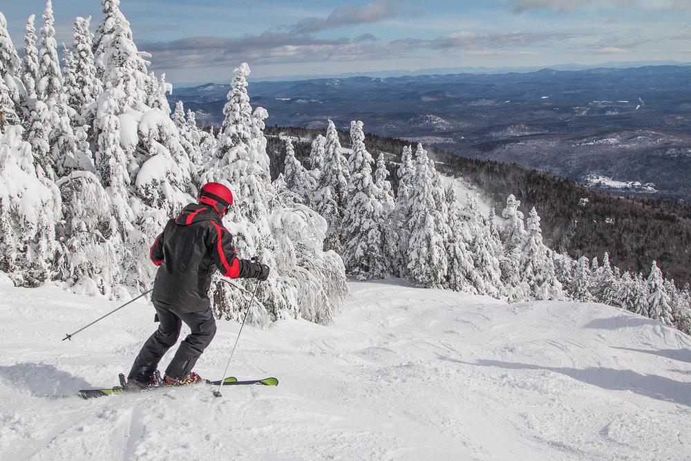 Summit skier at Gore Mountain.