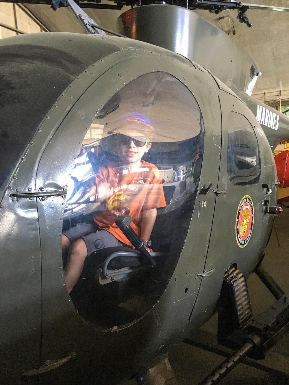 Theo inside a U.S. Marine Corps helicopter.   Tom O'Grady