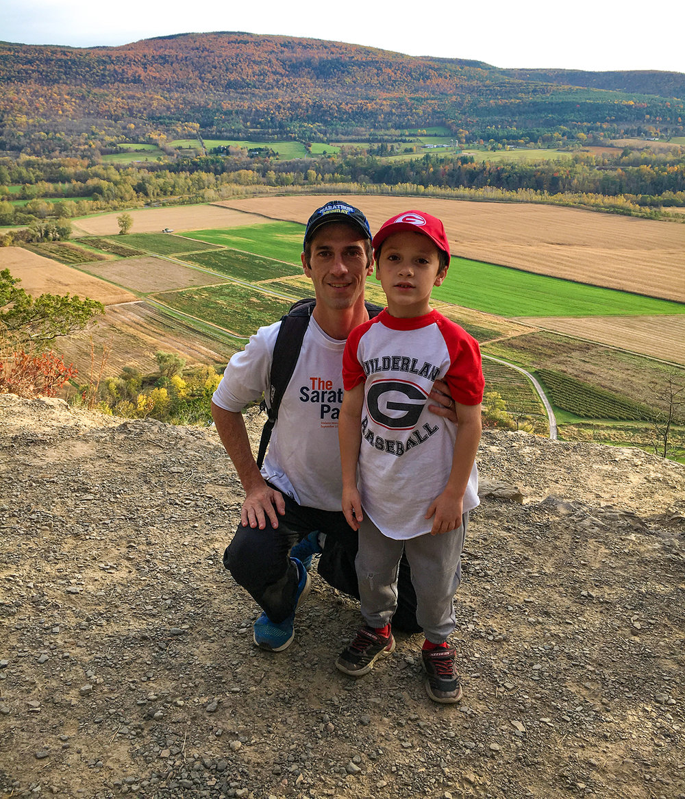 Tom and Conor at the lookout with Schoharie Valley in full view.  Tom O'Grady
