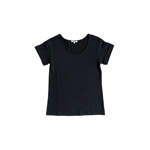 bb2a6904227 ROLL-SLEEVE T-SHIRT - BLACK. rollsleeve tshirt black.jpg
