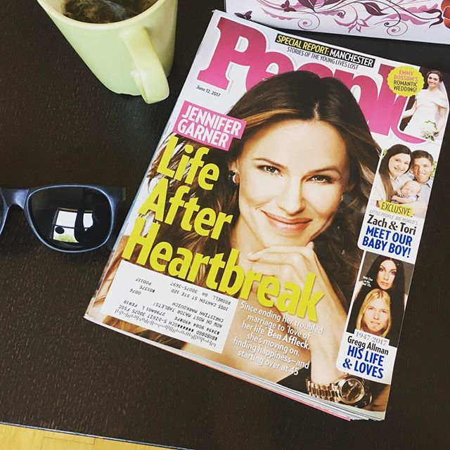 "Coincidence or not... {or controversy} Found at my hairdressers - this amazing @people {you go #jennifergarner} with title ""Life After Heartbreak"" with a random pair of sunglasses near it!! #futuresobrighthavetowearshades #therearenocoincidences #exwivesguide #lifeafterheartbreak #jennifergarner"
