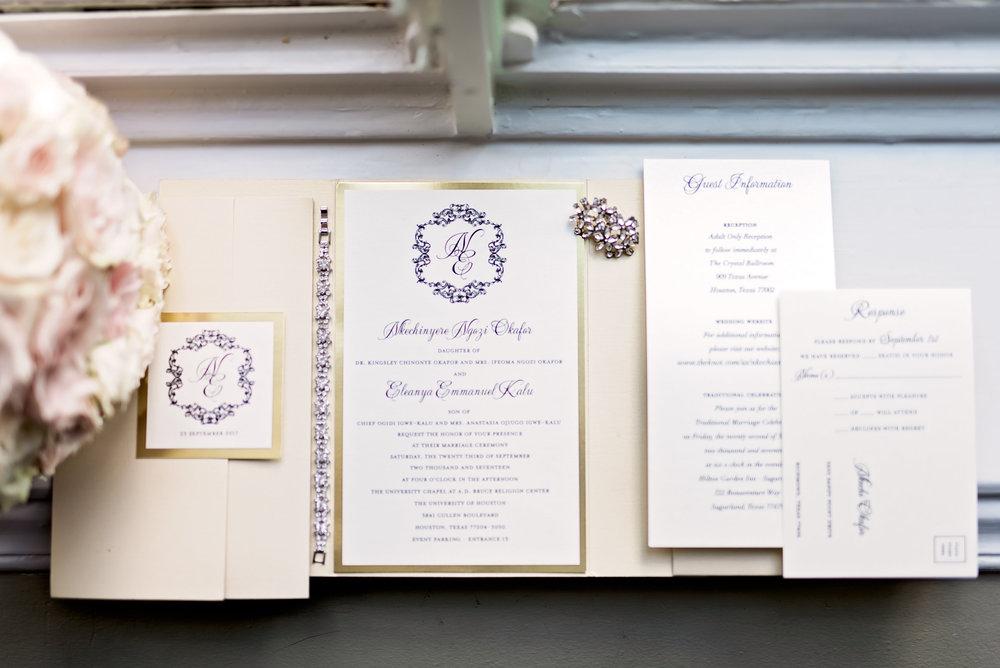 Houston Wedding- Texas Photography- Pharris Photography- Nkechi and Elyx- The Crystal Ballroom- Wedding Invitations