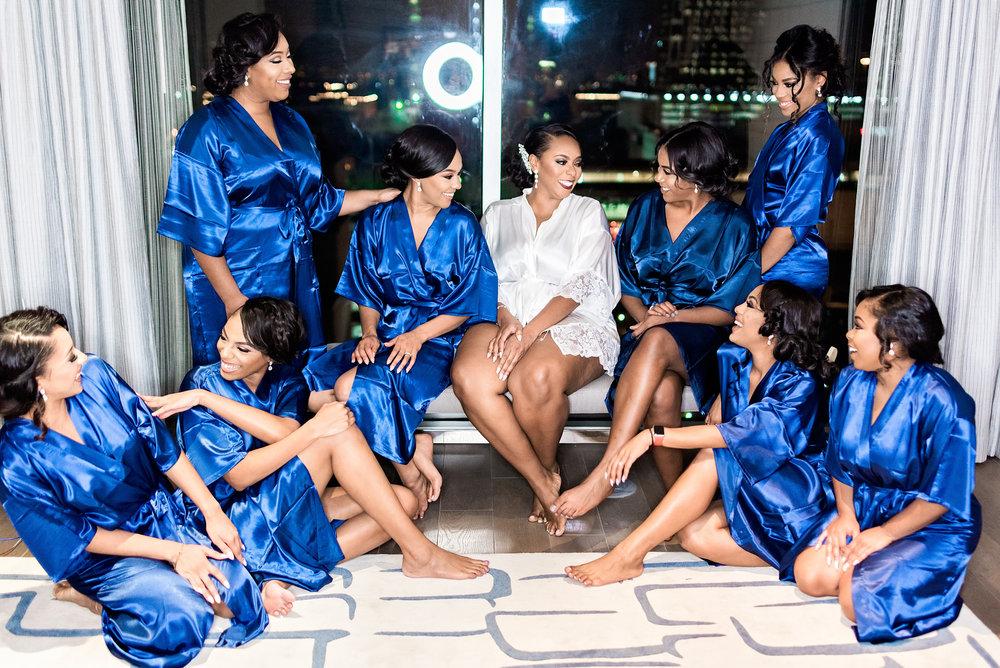 Pharris Photography- Houston Wedding- Texas Wedding- Wedding Photography- Arlena and Chisom- Hyatt Regency- Bridal Party- Bridesmaids- Matching Robes