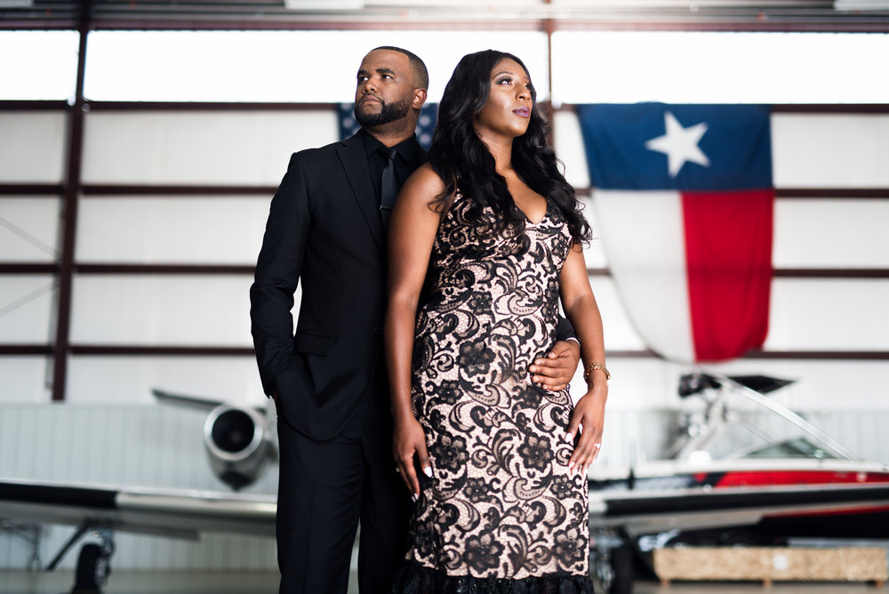 Engagement Session- Pharris Photography- Texas Engagement- AC and Nicole- Airport Hangar