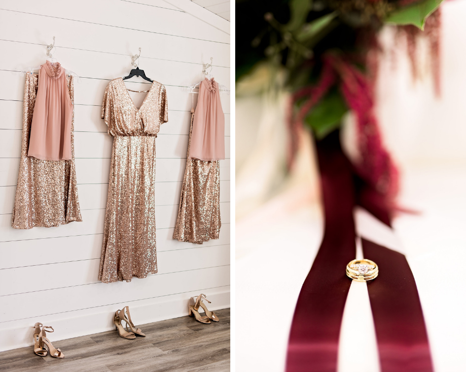 Pharris Photography- Texas Wedding- Melody and Moses- Wedding Rings- Sequin Bridesmaid Dresses
