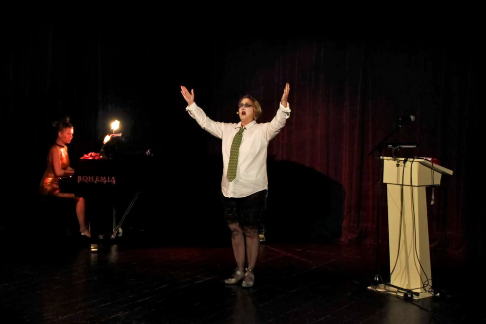 "Performing in ""Dada Divas"" in Brno, Czech Republic"
