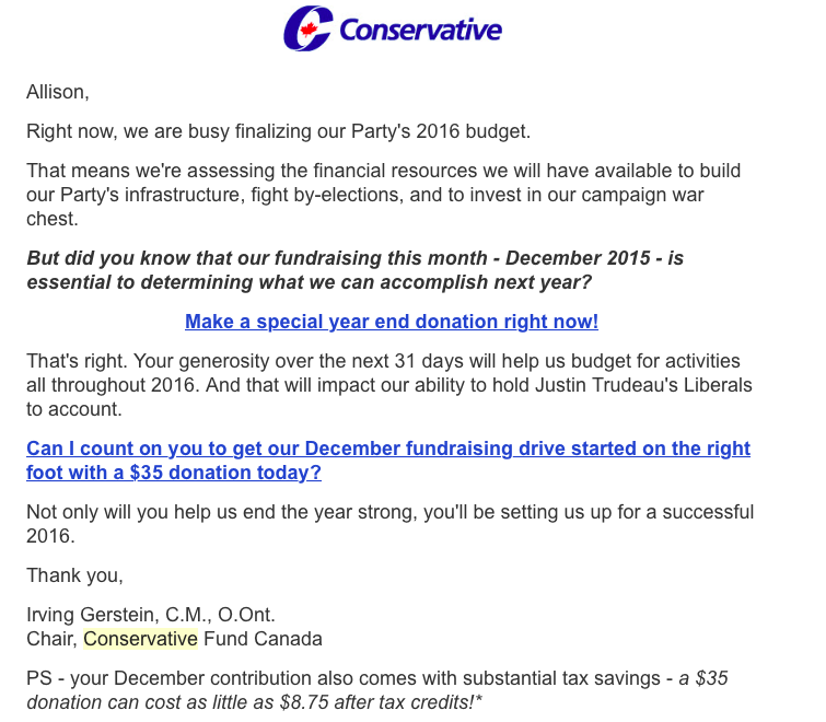 A December 10 email from Irving Gerstein, the Chair of the Conservative Fund Canada.