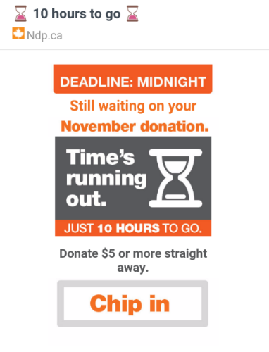 A November 30 email from the NDP, as viewed on mobile.