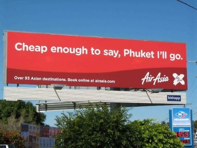 From a billboard outside the airport in Brisbane, Australia. Seven words is enough.