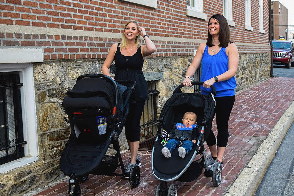 women walking strollers wearing nursing tank tops