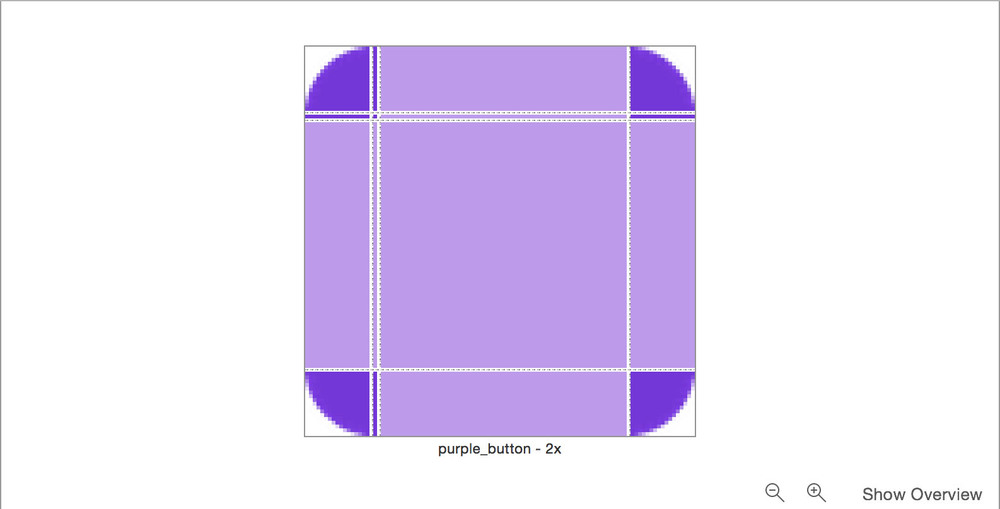 As you can see, the dark purple areas are going to be preserved by the system, while the light purple areas will be the pixels that stretch.