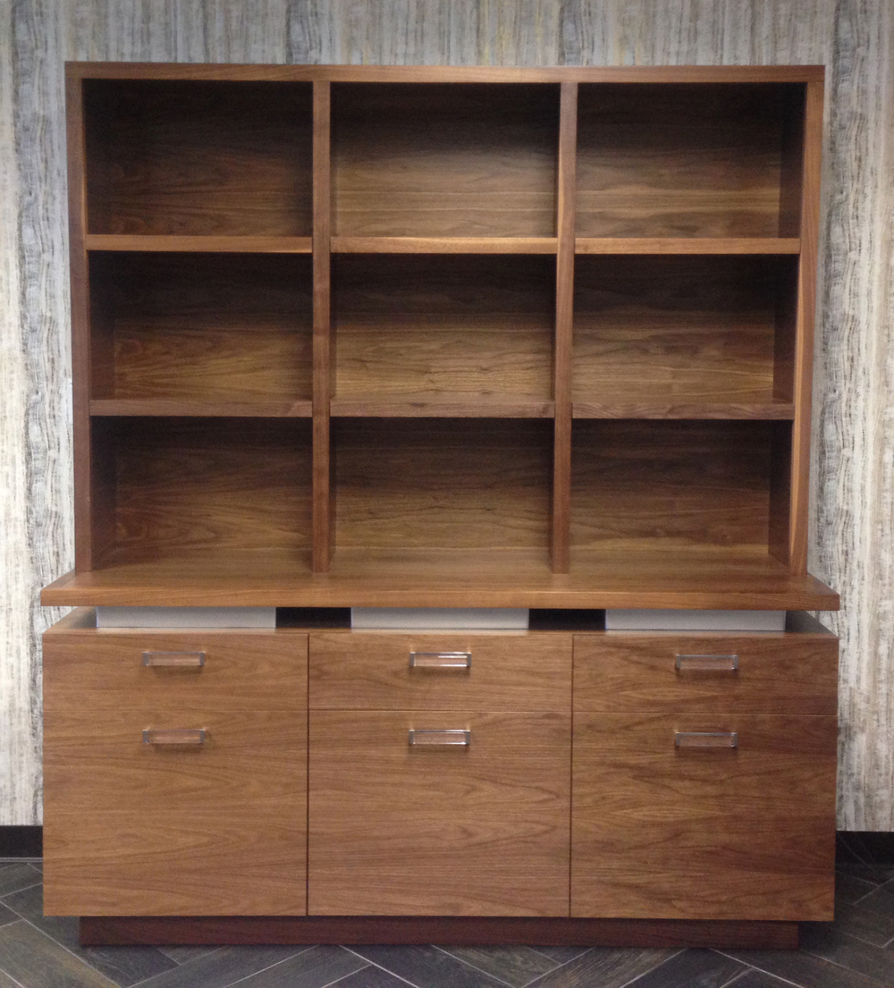 Walnut cabinet with hutch