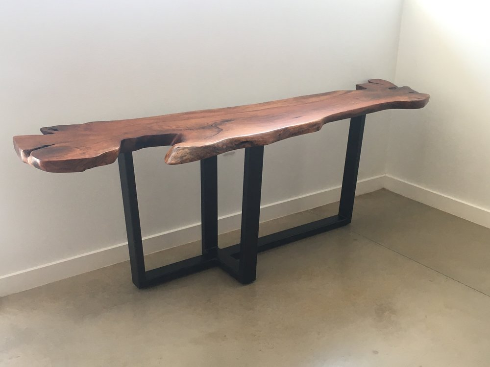 mesquite coffee table console table, live edge furniture, wood and metal furniture designs, clearance furniture austin, live edge wood table, natural edge wood console table