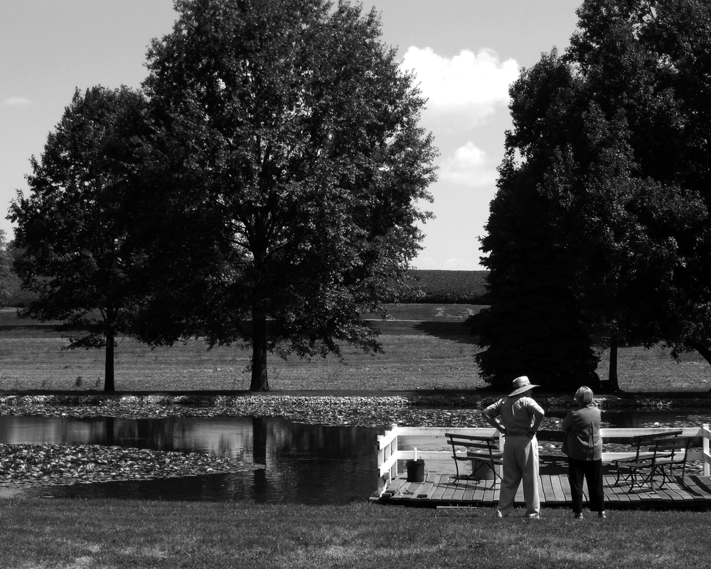 Frank Huber and Barbara Nolt look out at the family lake at Lancaster, Pa. They and their sister Joanne Geiger played at the lake when they were kids. Joanne was buried that morning.