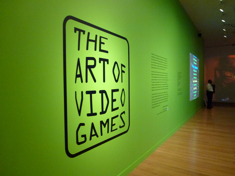 The entrance to the Smithsonian's The Art of Video Games exhibit. The exhibit was open from March 12 to September 30, 2012. It captures the interplay of graphics, technology and story telling through the past 40 years of video games. The exhibit is currently on tour around the country.