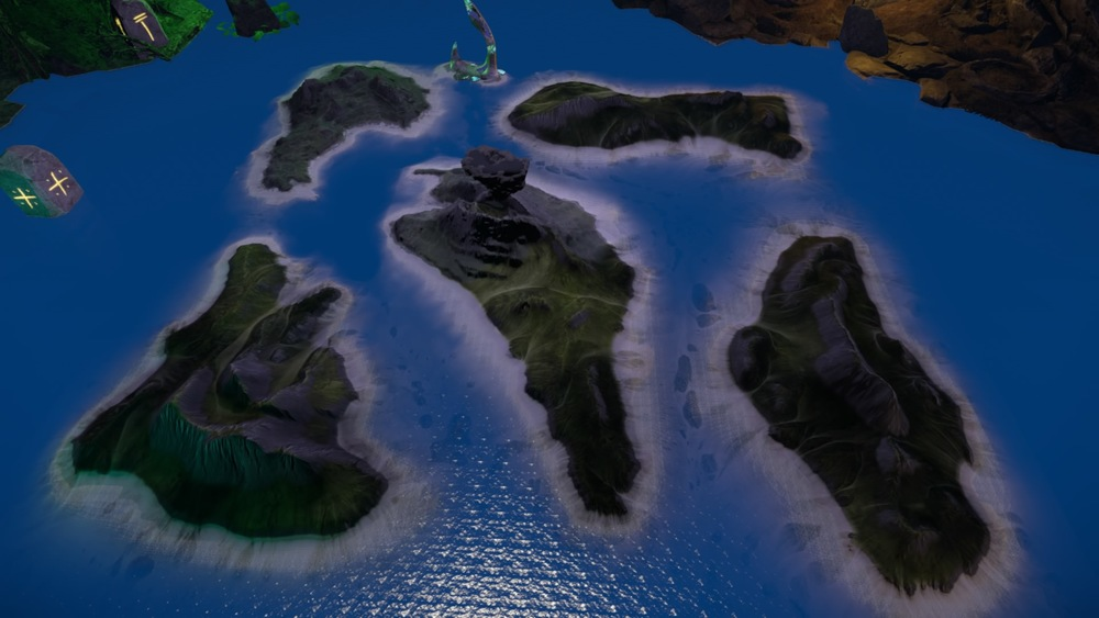 Only the upper left and center islands are available. The others will unlock at some later date.