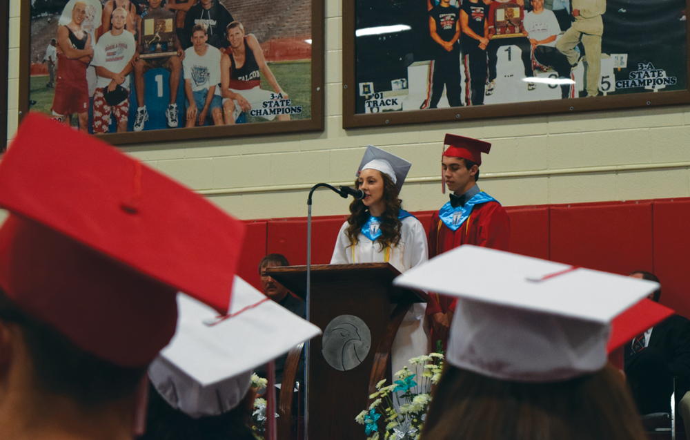 Ariel Sandoval and Brandon Middlemist speak to their fellow students about hope at the 2017 Centauri High School graduation on May 27, 2017. Sandoval will study engineering at University of Colorado Boulder on the Boettcher scholarship and Middlemist, a Boettcher scholarship semi-finalist, will also attend CU Boulder to study physiology. More than $2 million in scholarships were awarded to the entire class of 67 seniors. Part of the photo essay that won second place for Class 6 in the Colorado Press Association Better Newspaper Contest in 2018.