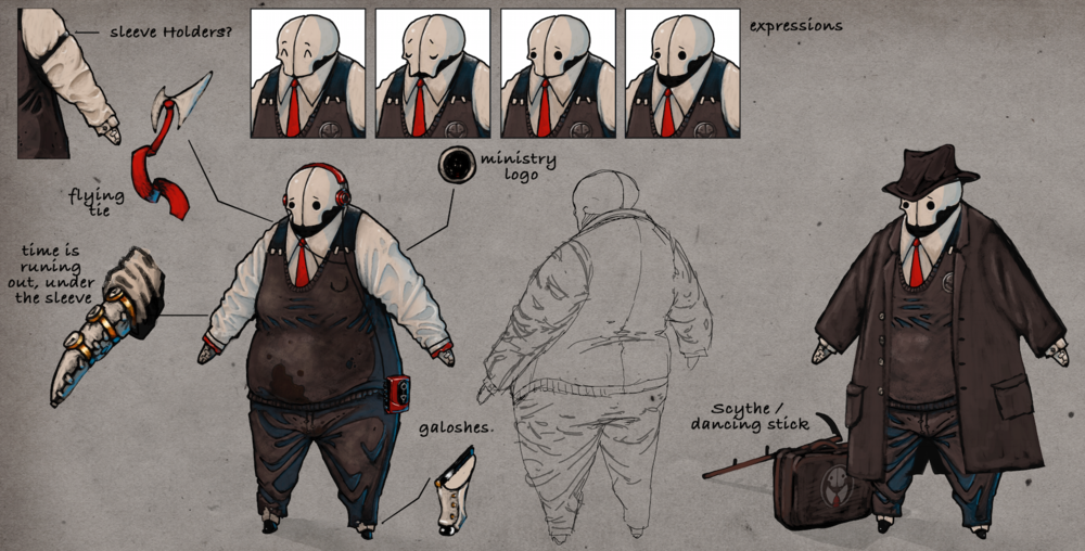 Concept art of Felix The Reaper in his ministry work clothes.