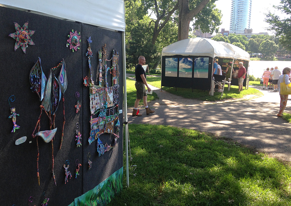 Loring Park is a beautiful art fair right on the lake with the city of Minneapolis in the background.