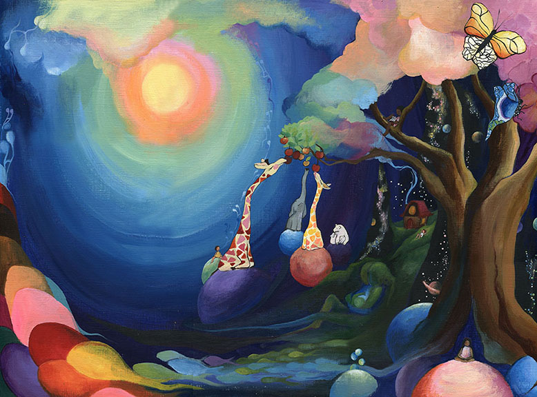 Alsie's World. 2015 acrylic on canvas paper 18x24""