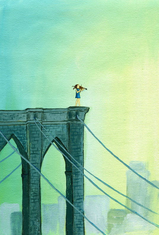 Fiddler on the Bridge. 2011 acrylic on canvas 11x15""