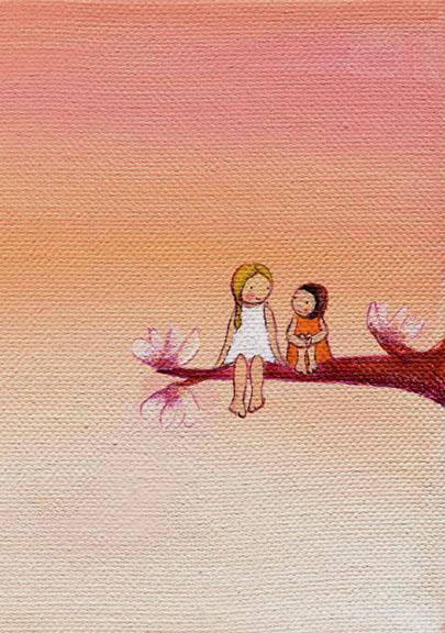 "Magnolia Tree. 2010 acrylic on canvas 6x6"""