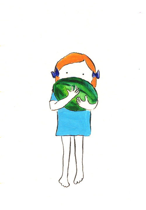 """Watermelon. 2008 gouache and ink on paper 5x7"""""""