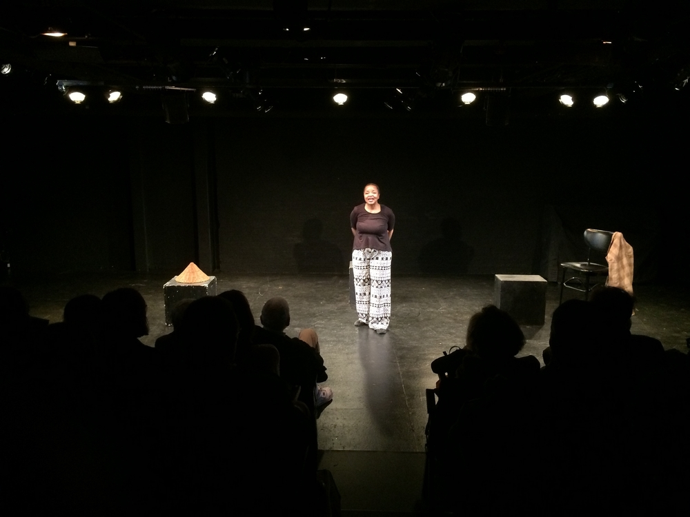 "Linda performing one woman show, ""Linda Means to Wait"" as part of the HERE Summer Sublet Series of 2015."