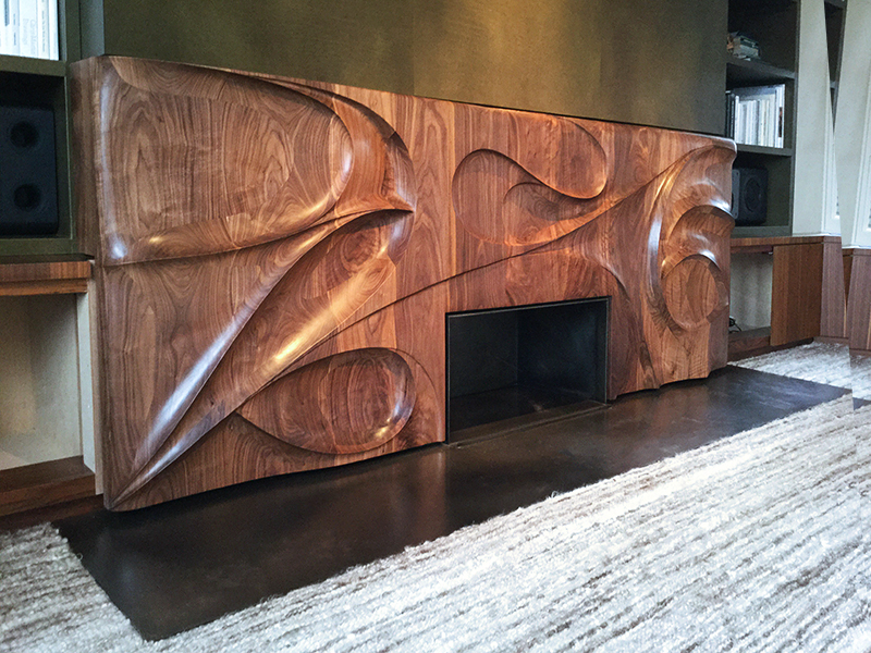 """Tornado"" fireplace surround in situ, 2015 American black walnut."